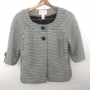 WHBM Houndstooth Black and White Women's Jacket